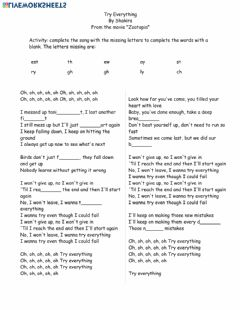 Interactive worksheet Song Activity: Try Everything