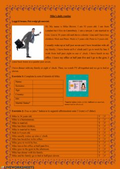 Interactive worksheet UDA 3.5 Reading exercice: Mike's daily routine