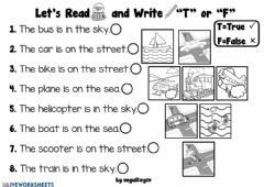Interactive worksheet 3.8. Transportation - Let's Look and Write True or False