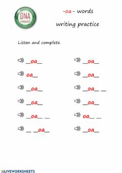 Ficha interactiva -oa- words writing practice (easy)