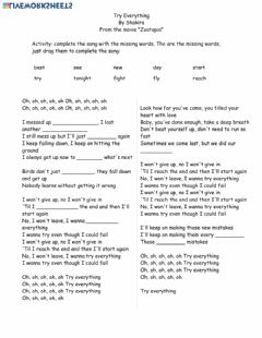 Ficha interactiva Song Activity: Try Everything complete with words April 8