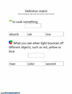 Interactive worksheet Words about sound and light matching to their definition