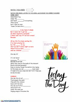 Interactive worksheet One day (song)