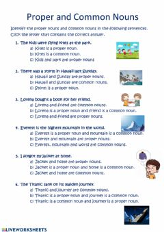 Ficha interactiva Proper and Common Nouns