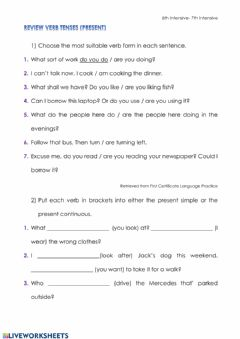Interactive worksheet Present simple- Present continuous