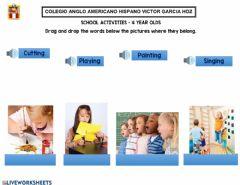 Interactive worksheet School activities – 4 year olds