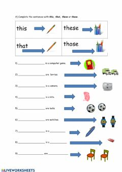 Interactive worksheet This, that, these and those
