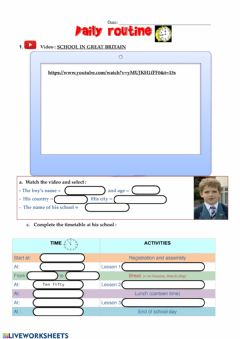 Ficha interactiva Daily routine - school in England