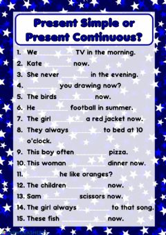 Interactive worksheet Present Simple or Present Continuous