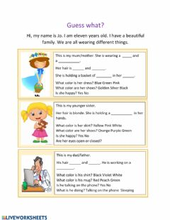 Interactive worksheet Vocabulary on family, colors and clothing