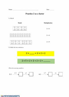 Interactive worksheet Practice 2 as a factor