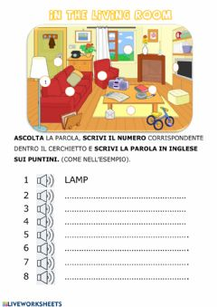 Interactive worksheet In the living room