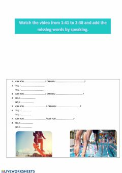 Interactive worksheet Can or Can't speaking