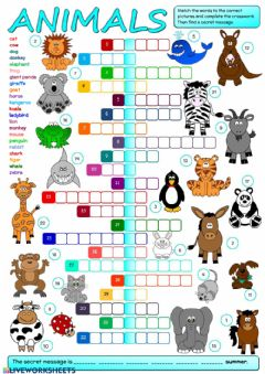 Ficha interactiva Animals - crossword
