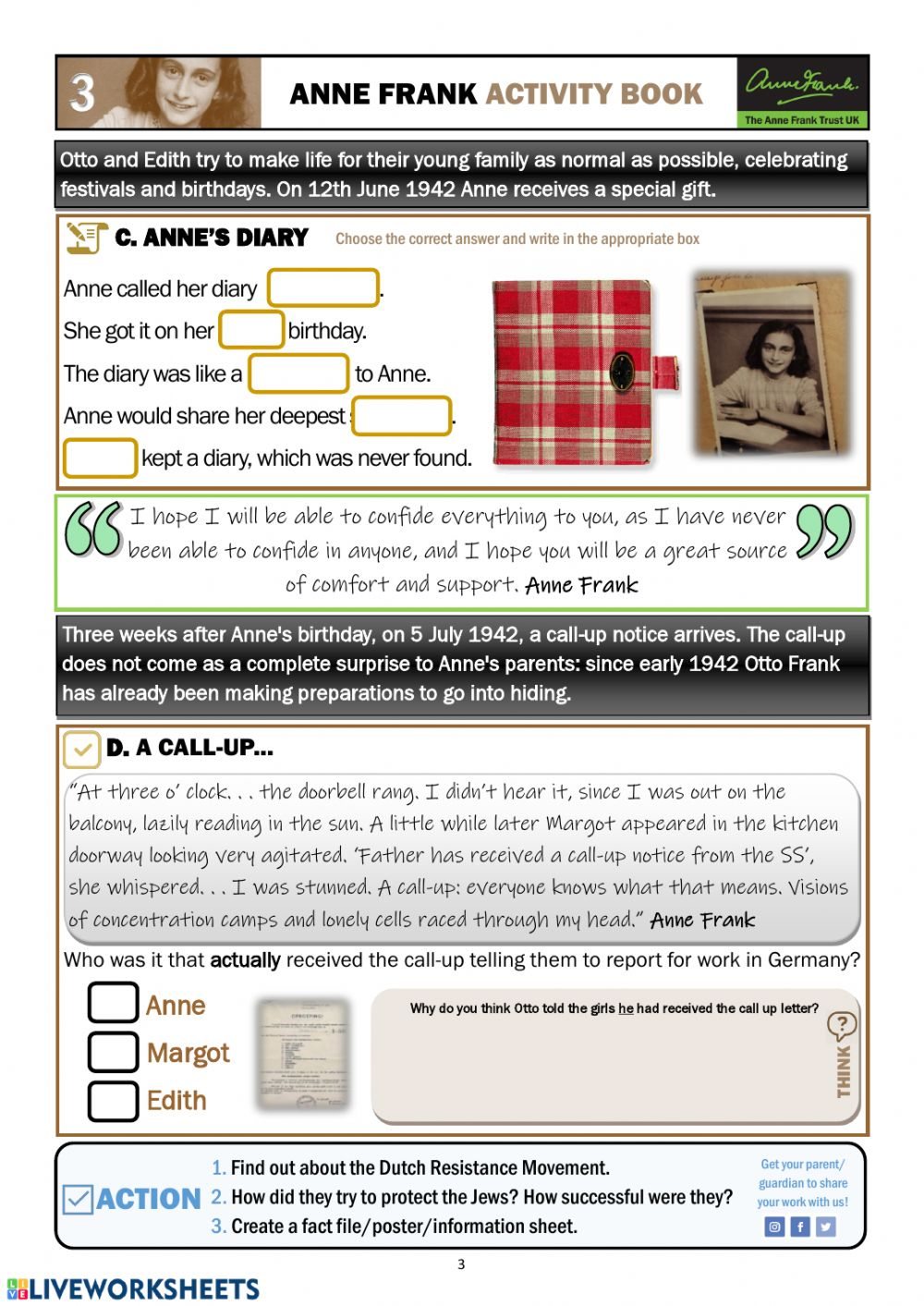 Anne Frank - Activity Book Section 3 worksheet