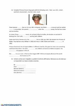 Interactive worksheet Princess diana 's biography