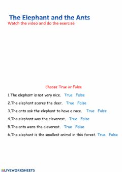 Interactive worksheet The Elephant and the ants