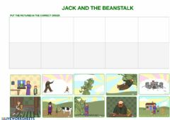 Ficha interactiva Jack and the beanstalk story sequencing