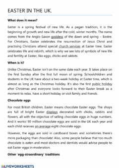 Interactive worksheet Easter traditions in the UK