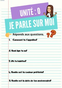 Interactive worksheet Sur moi