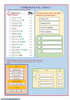 Interactive worksheet Comemos en el Chino 1