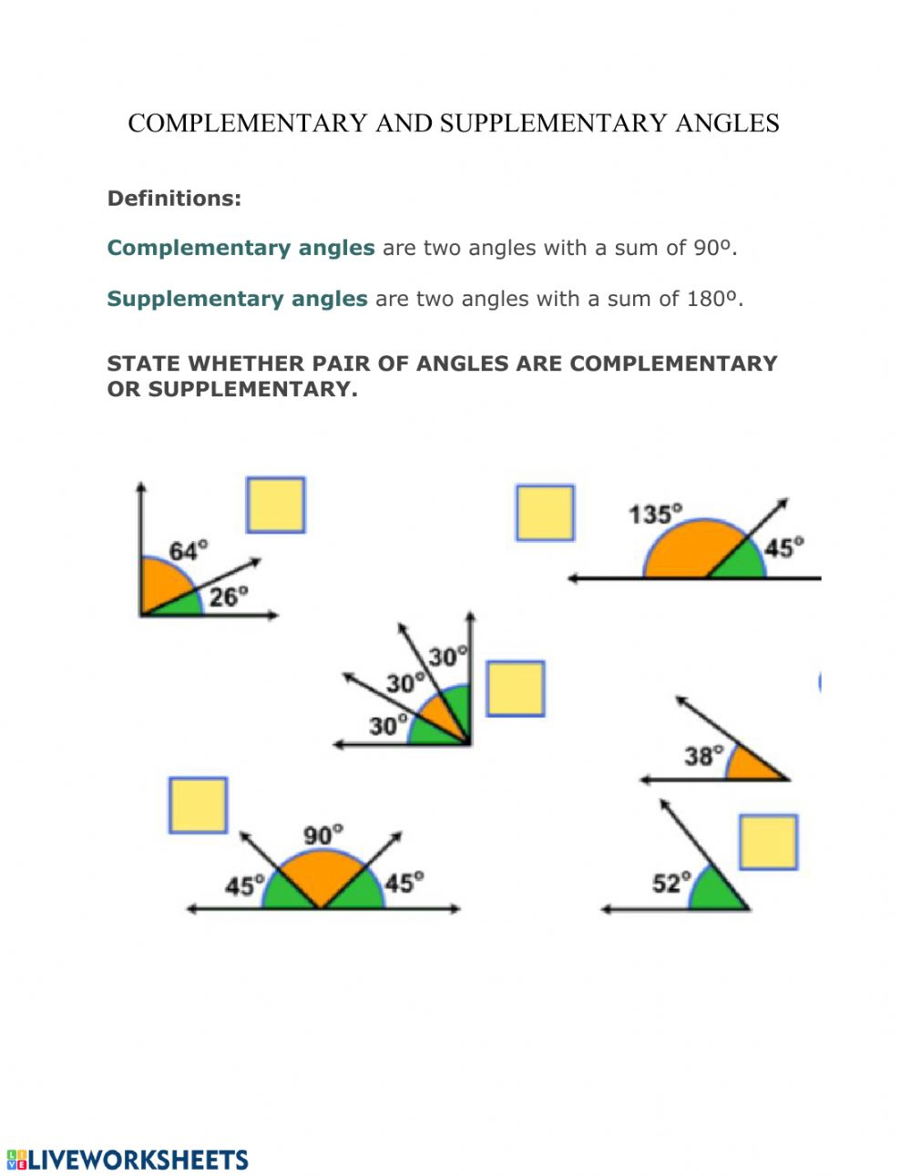 Complementary and Supplementary angles   Interactive worksheet