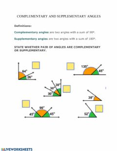 Ficha interactiva Complementary and Supplementary angles