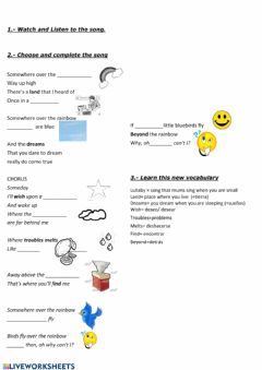 Interactive worksheet Over the rainbow song