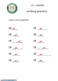 Interactive worksheet -oi- words writing practice (easy)