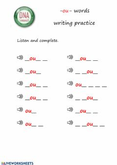 Interactive worksheet -ou- words writing practice