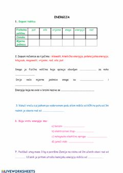 Interactive worksheet Energija