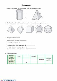 Interactive worksheet Poliedros
