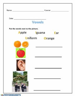 Interactive worksheet Words that start with vowels