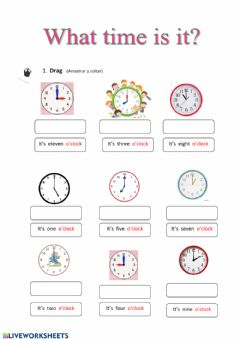 Interactive worksheet The time (o'clock)