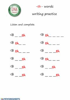 Interactive worksheet -th- words writing practice 2 (easy)