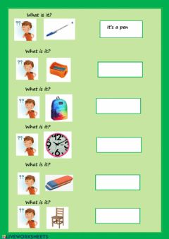Interactive worksheet What is it? school objects