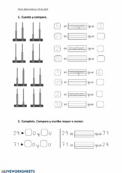 Interactive worksheet Compara numeros