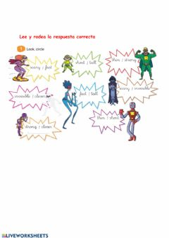 Interactive worksheet Adjetivos superheroes