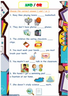 Interactive worksheet And - or