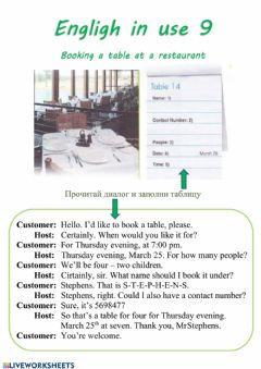 Interactive worksheet Booking a table at a restaurant