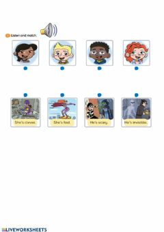 Interactive worksheet Super heroes