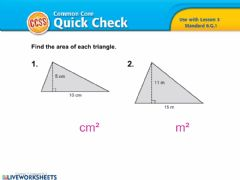 Ficha interactiva Area of a Triangle and a Trapezoid