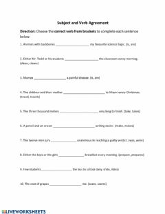 Ficha interactiva Subject and Verb Agreement 3