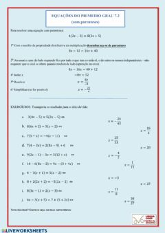 Interactive worksheet Equações com parenteses 7.2