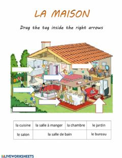 Ficha interactiva Les pieces de la maison-rooms in the house-fr-French