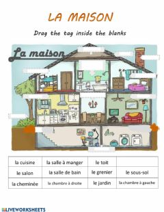 Interactive worksheet La maison-les pirces-rooms in the house-Fr-Francais