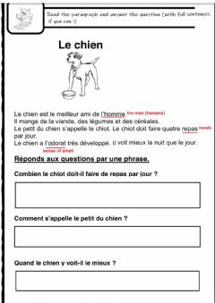 Interactive worksheet Lecture comprehension-reading C (French)