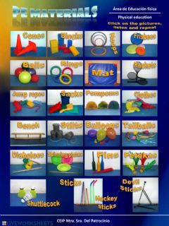 Interactive worksheet PE materials 5º - 6º