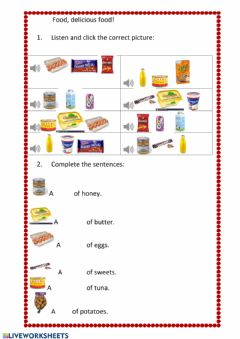 Interactive worksheet Food containers