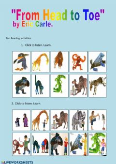 Interactive worksheet Pre Reading Worksheet From Head to Toe.